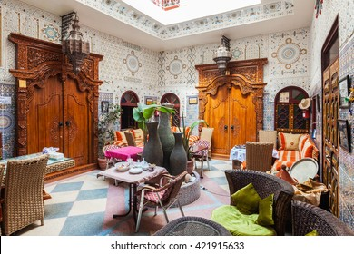 MARRAKESH, MOROCCO - FEBRUARY 29, 2016: Riad in Marrakesh, Morocco. Riad is a traditional Moroccan house or palace with an interior garden or courtyard, Morocco.
