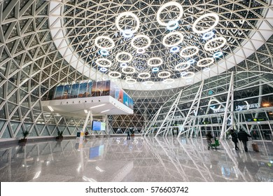 MARRAKESH, MOROCCO - JANUARY 13, 2017:The interior of Marrakesh Menara Airport. It is an international airport serving Marrakesh, the capital city of the Marrakesh-Tensift-El Haouz region in Morocco.