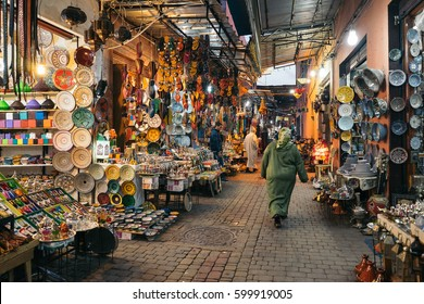 MARRAKESH, MOROCCO - JANUARY 3, 2017: Moroccan woman in the souk near the square of Jemaa el-Fna.