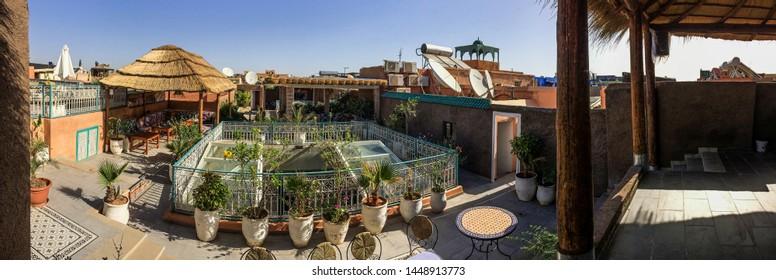 MARRAKESH, MOROCCO – June 01 2019.:Marrakesh's magical rooftops,panoramic photo.