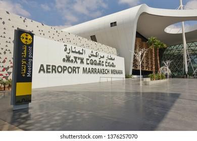 MARRAKESH, MOROCCO –28 MAR 2019- View of the Marrakesh Menara Airport (RAK), an international airport serving Marrakesh, the biggest tourist destination in Morocco.