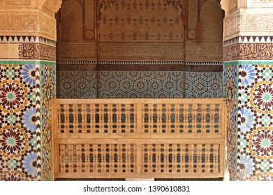 MARRAKESH, MOROCCO –29 MAR 2019- View of the Saadian Tombs, a landmark mausoleum near the Kasbah Mosque in Marrakesh, Morocco.