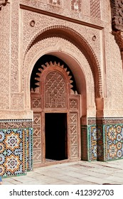 MARRAKESH, MOROCCO- March 03, 2016: The Ben Youssef Madrasa which is visited by tourists from all world in Marrakesh. The Ben Youssef Madrasa was an Islamic college.
