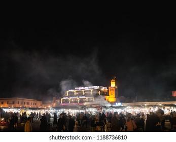Marrakesh, Morocco - March 27 2018: Djemaa el Fna square in Marrakech, Morocco at night