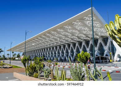 Marrakesh, Morocco - March 4, 2017: Exterior of the airport of Marrakesh Menara in Morocco. The airport served over 4 million passengers in the year 2014