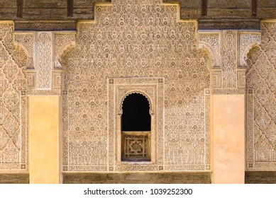 MARRAKESH, MOROCCO - MAY 05: Inside view of the Ben Youssef Medersa on May 05, 2015 in Marrakesh, Morocco.