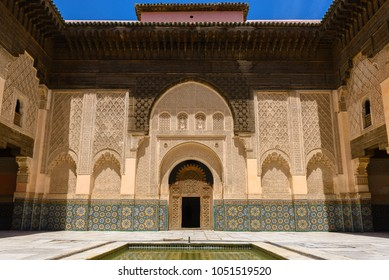 MARRAKESH, MOROCCO - MAY 05: Interior courtyard of the Ben Youssef Medersa on May 05, 2015 in Marrakesh, Morocco.
