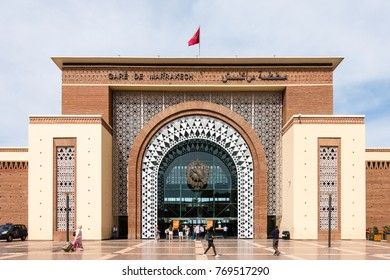 Marrakesh, Morocco - May 13, 2017: People are entering and leaving the Gare de Marrakech Train Station Marrakesh, Morocco. The train station was opened on August 10, 2008.
