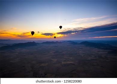 Marrakesh / Morocco - May 27 2016 : Hot air balloon ride