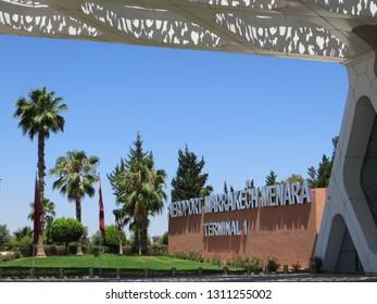 Marrakesh / Morocco - May 29, 2016: Marrakesh Menara Airport. Exterior of the airport of Marrakesh Menara - Terminal 1 in Morocco.