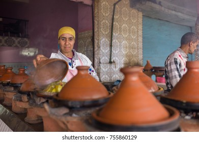 MARRAKESH, MOROCCO - May 8: Locals selling tajine dishes in the suburb of Marrakesh, Morocco on the 8th May, 2016.