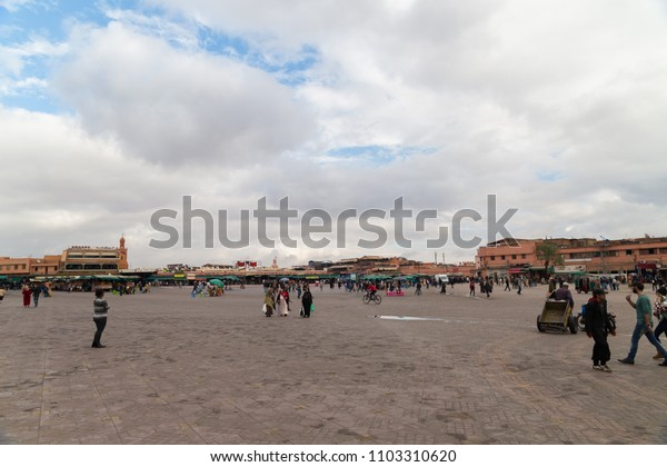 MARRAKESH, MOROCCO; Nobember 2017: Typical juices at the Jemaa fna souk