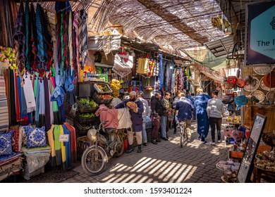 Marrakesh, Morocco - Nov 17, 2019: Walking through the market