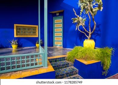 Marrakesh, Morocco - November 08, 2017: Berber museum in Botanical garden Jardin Majorelle or Majorelle Gardens in Marrakesh