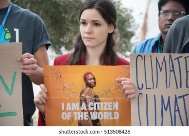 MARRAKESH, MOROCCO - NOVEMBER 10: Activists at the COP22 UN climate conference in Marrakesh, Morocco,  speak out against anti-immigrant policies in the wake of the U.S. election, November 10, 2016.