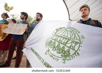 MARRAKESH, MOROCCO - NOVEMBER 10: Activists at the COP22 UN climate conference in Marrakesh, Morocco,  demand protection for people and communities displaced by climate change November 10, 2016.