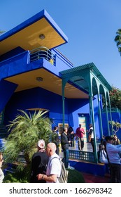 MARRAKESH, MOROCCO - NOVEMBER 16: ardin Majorelle with unidentified people on November 16, 2013 in Marrakesh. It was built by Jacques Majorelle 923 and since 180 it was owned by Yves Saint Laurent