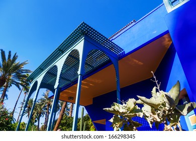 MARRAKESH, MOROCCO - NOVEMBER 16: picturesque building in the jardin Majorelle on November 16, 2013 in Marrakesh. It was built by Jacques Majorelle 923 and since 180 it was owned by Yves Saint Laurent