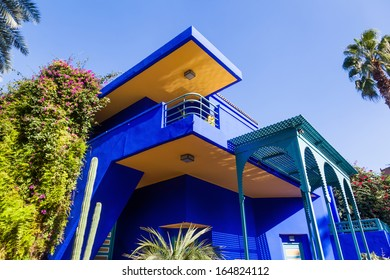 MARRAKESH, MOROCCO - NOVEMBER 16: view of the Jardin Majorelle on November 16, 2013 in Marrakesh. It was built 1923 by Jacques Majorelle and later rediscovered by Yves Saint Laurent.