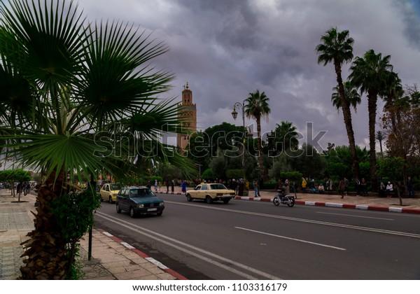 MARRAKESH, MOROCCO; November 2017: The famous Koutoubia tower in Marrakech, Morocco