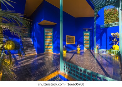 MARRAKESH, MOROCCO - NOVEMBER 7: view of the Jardin Majorelle on November 7, 2013 in Marrakesh. It was built 1923 by Jacques Majorelle and later rediscovered by Yves Saint Laurent.