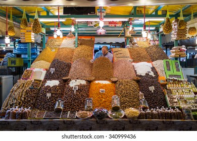MARRAKESH ,MOROCCO - NOVEMBER 8: Unidentified man selling dry fruits at night at Djemaa el Fna square in Marrakesh on November 8, 2015 in Morocco. Marrakech it is the most important city in Morocco.
