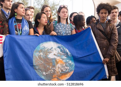 MARRAKESH, MOROCCO - NOVEMBER 9: International youth climate justice activists at the COP22 UN climate conference in Marrakesh, Morocco, react to the U.S. presidential election, November 9, 2016.