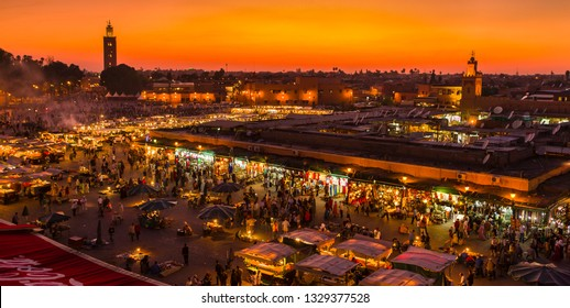 MARRAKESH, MOROCCO - OCTOBER 1, 2009: evening view of the Djemaa el Fna plaza, marketplace.