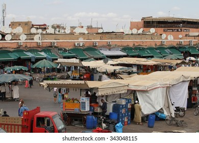 MARRAKESH, MOROCCO - OCTOBER 8: A panoramic view of the bustling scene of the Jemaa el Fnaa Square, Marrakesh, Morocco on the 8th October, 2015.