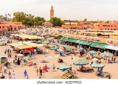 MARRAKESH, MOROCCO - SEP 5, 2015: Market place of Marrakesh, Morocco. It is the capital city of the mid-southwestern region of Marrakesh-Asfi.