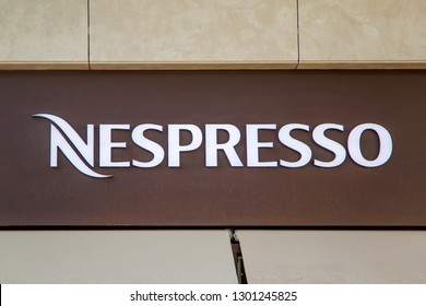 MARRAKESH, MOROCCO - SEPTEMBER 12, 2014: Detail of Nespresso store in Marrakesh, Morocco. Nespresso is a coffee capsule and coffee machine brand of Nestle company.