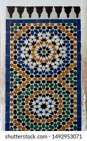 Marrakesh Morocco, Zellige tiles decorating a doorway with elaborate Islamic geometric patterns