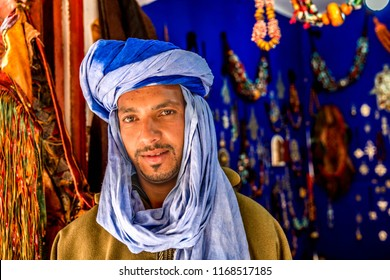 Marrakesh, Morocco-07.18.2018: Portrait of unidentified Berber man (Moroccan man )with djellaba and turban  Morocco. Berber are an ethnic group in North Africa.