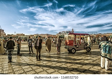 Marrakesh, Morocco-11.05.2018: Jamaa el Fna market square,  north Africa. Jemaa el-Fnaa, Djema el-Fna oel-Fnaa, famous square and market place in Marrakesh's medina quarter.
