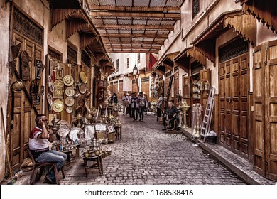 Marrakesh, Morocco-11.05.2018: Traditional and old  market in Marrakesh medina square. famous square and market place in Marrakesh's medina quarter. Morocco.
