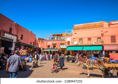 MARRAKESH, MOROCCO-OCTOBER 22, 2017: Beautiful street of old Marrakesh, Morocco