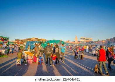 MARRAKESH, MOROCCO-OCTOBER 22, 2017: Jamaa el Fna market square in Marrakesh medina, Marrakesh, Morocco