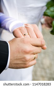 marriage ceremony - two lover's hands just after marriage ceremony