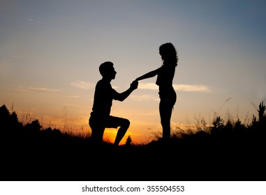 Marriage Proposal Sunset