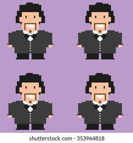 Marriage. Wedding. Pixelated happy groom on a purple backdrop. Digital background raster pattern.