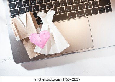 Marriages and weddings. Image of online using a personal computer. Such as the impact of the new coronavirus.