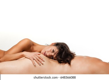 Married couple embracing in bed at the morning. Sexy woman face. Erotic games. Sexy lovers foreplay at luxury flat, sensual milf foreplay with young man. Love story. Sensual concept. Soul. Fashion