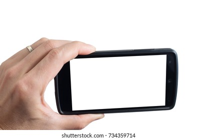 Married man hand holding horizontal black smartphone with blank screen, isolated on white background.