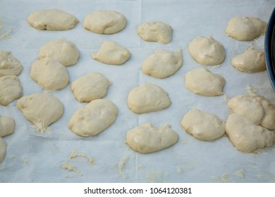 Marrocan dough for Mufleta sweets for Mimuna (1st day After Passover) celebration. Hand made marrocan sweets, pastry.