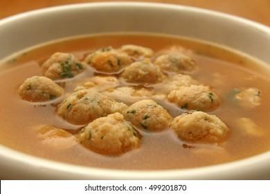 Marrow dumplings soup