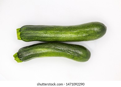 Marrow Squash. Fresh Zucchini. Courgette Vegetable Isolated on White Background. Ugly Organic Agriculture Food. Green Veggies for Cooking Vegetarian Spaghetti. Tasty Vegan Nutrition Diet