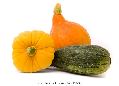 Marrows on a white studio background