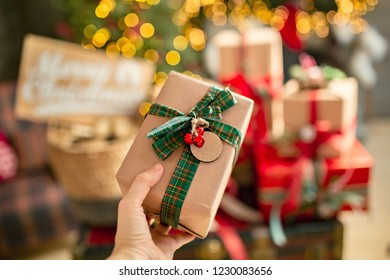 Marry Christmas and happy New Year celebration. Giving gifs, craft paper box and design home decor.