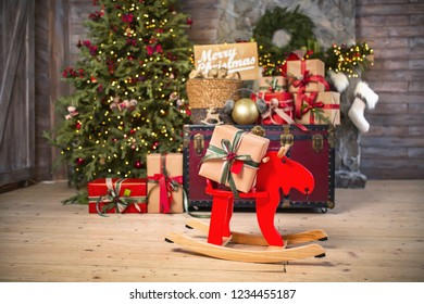 Marry Christmas and happy New Year celebration. Family gifts boxes and design home decor. Decorated living room, wooden floor and walls.