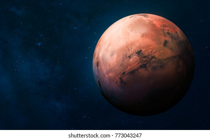 Mars. Astronomy and science concept. Space theme. Elements of this image furnished by NASA.